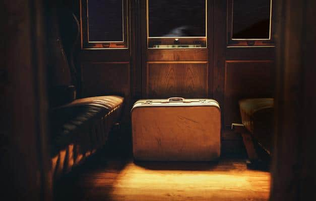 Leather suitcases on the Budapest Express train