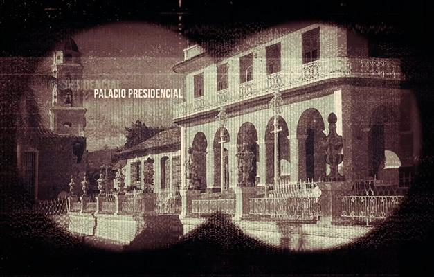 Castro's palace viewed through binoculars
