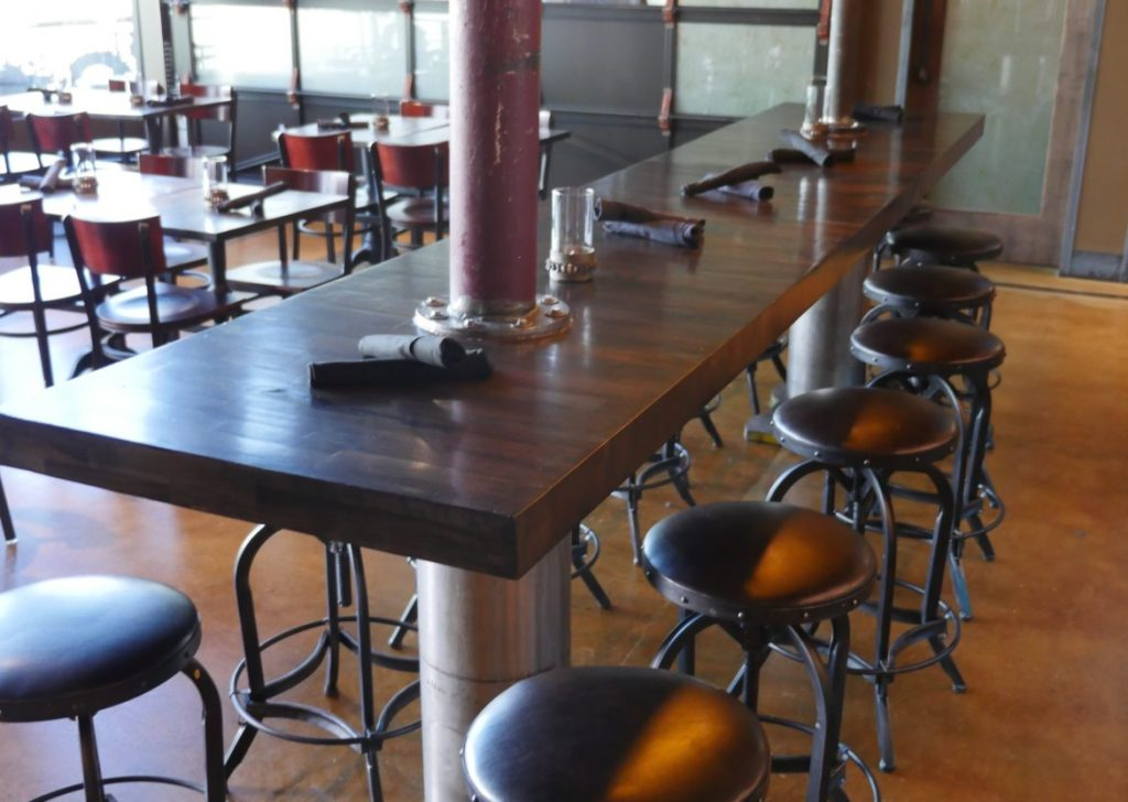Counter area in between the restaurant and bar