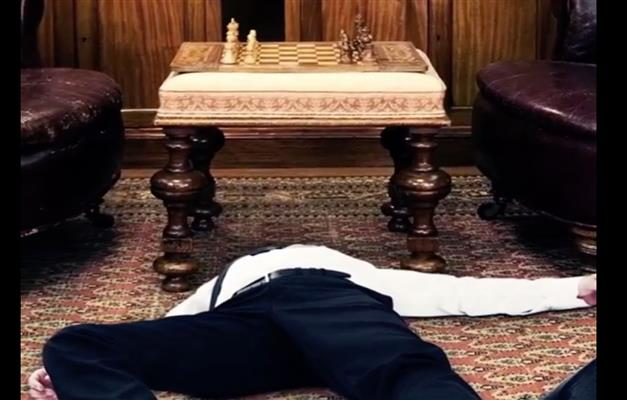 Dead body of Monty Montgomerie, 9th Earl of Kildermorie