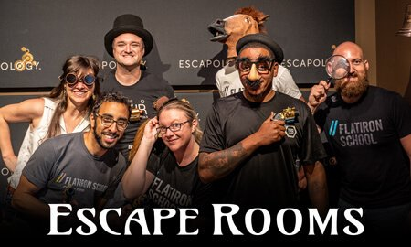 People getting picture taken after escape room