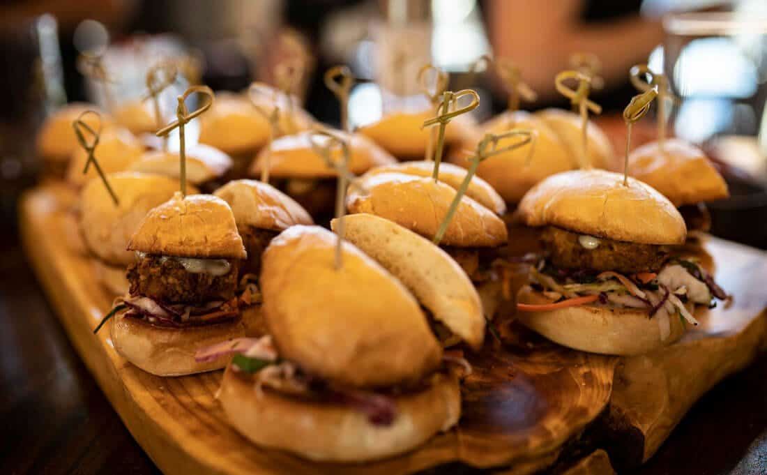 Hamburger sliders available from our banquet menu